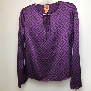 Tory Burch | 100% Silk Purple Tie Neck Blouse